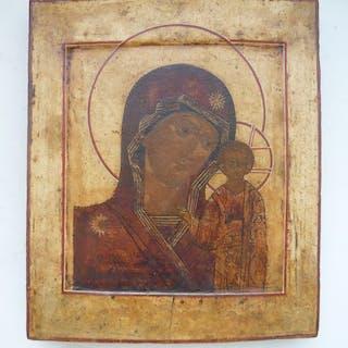 Russian icon Our Lady Hodegetria of Kazan - Wood - Late 18th century