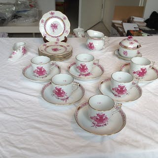 herend - Herend apponyi rose coffee set with silver sugar spoon (23) - Porcelain