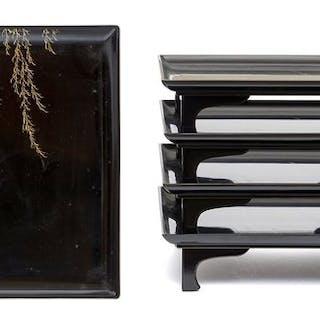 Set of five lacquered low tables (kaisekizen)(5)...