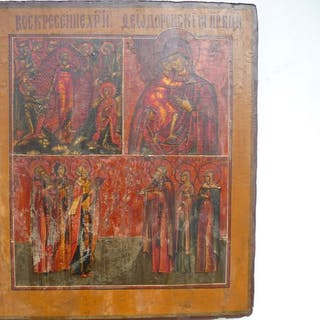 Many Panels Russian Icon - Wood - First half 19th century
