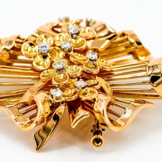 18 kts. Yellow gold - Brooch Diamond