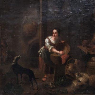 Dutch school /Scuola seconda metà '600 - Scena d'interno con figura e animali