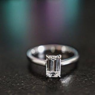 18 kt. White gold - Ring - Clarity enhanced 1.00 ct Diamond