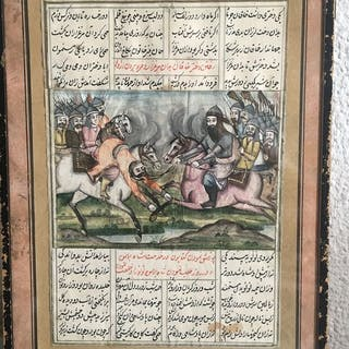 Miniature painting (1) - Gouache - Battle - miniature qajar- Iran - 19th century