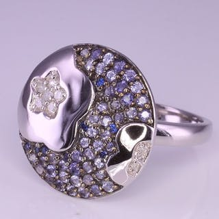 14 kt. White gold - Ring Diamond - Blue Sapphire & Iolite