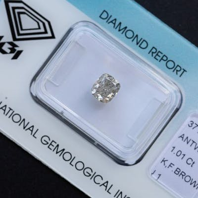 Diamond - 1 01 ct - Cushion - K - I1, IGI Antwerp - No