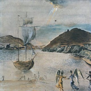 Salvador Dali- Paysage de Port Ligat avec anges familiers et pêcheurs