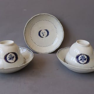 Tea set, plates(2) cups (3) - Porcelain - China - Jiaqing (1796-1820)