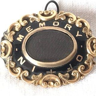 Emaille und 14 Karat Gold - Großer englischer antiker...