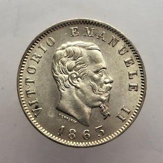 Italy - Kingdom of Italy - 1Lira 1863 Milano - V.Emanuele II - Silver