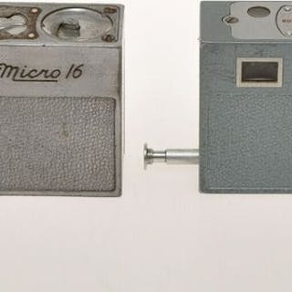 Whittaker couple of nice Micro 16 subminiature cameras: Chrome and light Blue