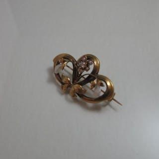 18 kt. Yellow gold - Brooch Pearl - Diamond