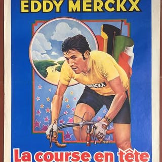 La Course en tête : Eddy Merckx - Affiche belge originale - 1974