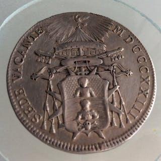 Stato Pontificio - 1823 - 1/2 Scudo Sede Vacante - Bologna - qSPL  - Argento