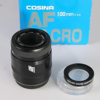 Cosina AF 3.5/100 mm macro + matched 1:1lens - voor Canon EF