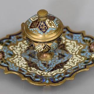 Encrier - Napoléon III - Bronze d'émaux cloisonnés - XIXe siècle