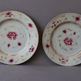 Plate (2) - Famille rose - Porcelain - China - 18th century