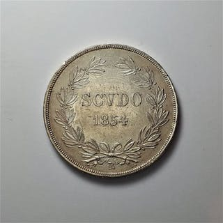 Italy - Papal States - Pio IX - Scudo 2° Tipo Busto Grande - 1854 - Silver