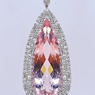 18 kt. White gold - Necklace - 39.67 ct Morganite - 3.78 Ct Diamonds