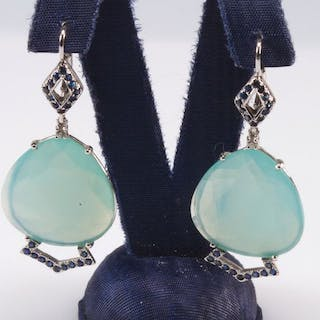 18 kt. White gold - Earrings Water green chalcedony - Diamonds, Sapphires