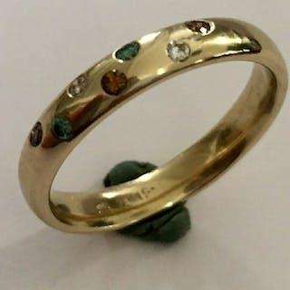 14 kt. Yellow gold - Ring - Colour Treated 0.02 ct Diamond - Diamonds