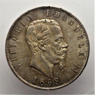 "Italy - Kingdom of Italy - 5 Lire ""Scudo"" 1869 - V.Emanuele III - Silver"