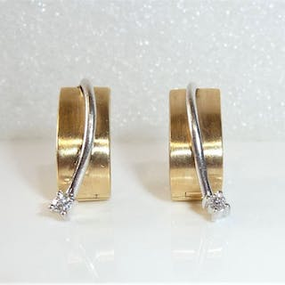 14 kt. Gold - Earrings, Creoles to unfold - massive 7.5 grams 0.06 ct. diamonds