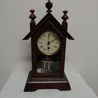 Orologio da camino - Legno, Ottone, Vetro - Inizio XX secolo