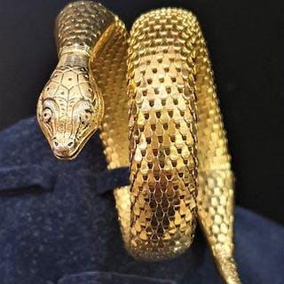 WHITING&DAVIS gold toned mesh- Snake Bracelet - BOOK PIECE