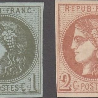 Frankreich - Bordeaux issue - 2 centimes olive + 2 centimes brown-red