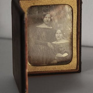 Anonymous (XIX)  - Two young ladies, one holding a book, 1850's