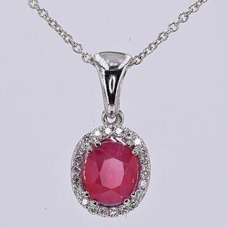 18 kt. White gold - Necklace - 2.29 ct AIGS Unheated Ruby - Diamonds