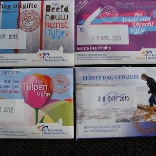 Die Niederlande - 5 Euro 2010/2013 (4 verschillende) in 1e daguitgifte coincards