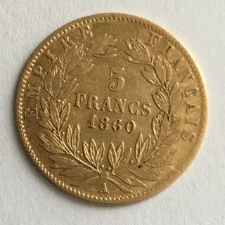 France - 5 Francs 1860-A Napoléon III - Gold