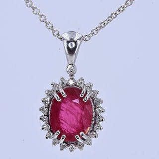 18 kt. White gold - Necklace - 2.69 ct AIGS Natural Unheated Ruby - Diamonds