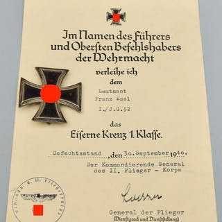 Germany - Order World War II Iron Cross 1st class with...