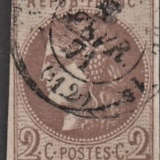 Frankreich - Bordeaux issue - 2 c brown, Calves certificate - Yvert 40Bb