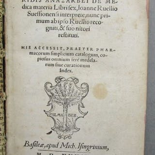 Pedanii Diiosco - Ridis Anazarbei de Medica Materia Libri Sex - 1539