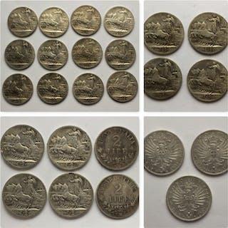 Italia - Regno d'Italia - Lotto di 25 monete Argento (19...