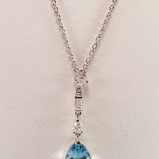 18 quilates Oro blanco - Collar con colgante aguamarina - Diamantes, Iolitas