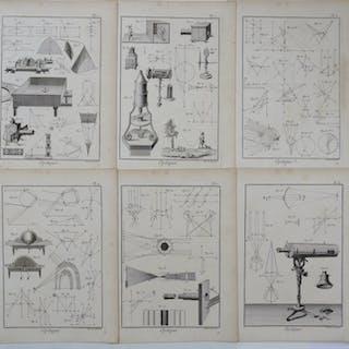 6 Drucke: Recueil de Planches de l´Encyclopédie - Optique 1789