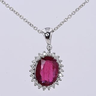 18 kt. White gold - Necklace - 2.56 ct AIGS Unheated Natural Ruby - Diamonds