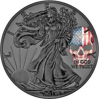 "USA - Dollar 2018 American Eagle""Skull ""- Ruthenium- 1 oz - Silber"