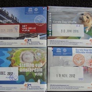 Die Niederlande - 5 Euro 2012/2017 (4 verschillende) in 1e daguitgifte coincards