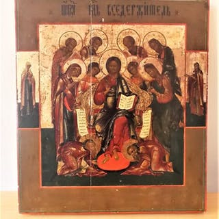 Icon, Extended Deesis - Wood - 19th century