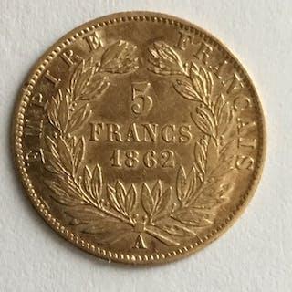 France - 5 Francs 1862-A Napoléon III - Gold