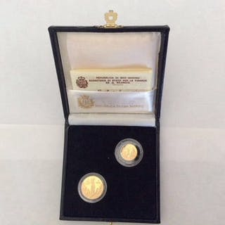 San Marino - Lotto di 2 monete d'oro - 1 e 2 Scudi 1991 +...