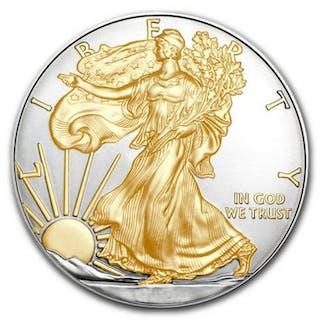 USA - 1 Dollar 2019 American Eagle gilded1 Oz Silber - Silber