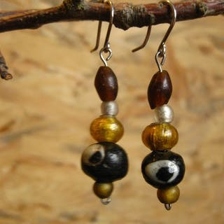 Ancient Roman Glass Silver Earrings with Byzantium and Roman glass beads