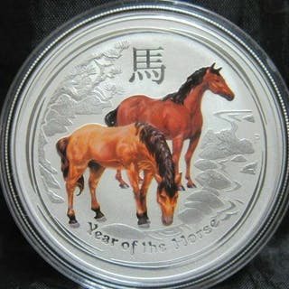 Australien - 1 Dollar 2014 - Year of the Horse - Colorized -1 Oz - Silber